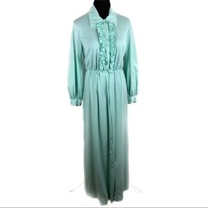 Beautiful mint vintage ruffle maxi dress